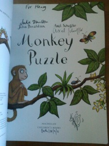 "Frontispiece of a signed copy of ""Monkey Puzzle"" by Julia Donaldson & Axel Scheffler"