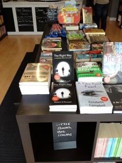 Robert R Russell's books on bookshop table