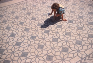 The author Alison Morton as a child on a Roman mosaic