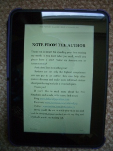 Kindle screen with note from author