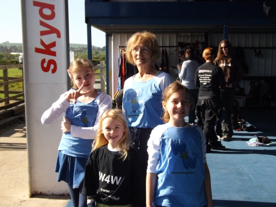 Margaret with her grandchildren at the skydive