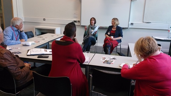 Novelists Jane Davis and Catriona Troth at an earlier talk about author collaboration